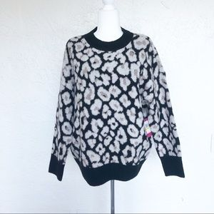 Vince Camuto Cozy Oversized Leopard Print Sweater